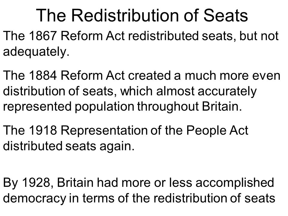 The Redistribution of Seats