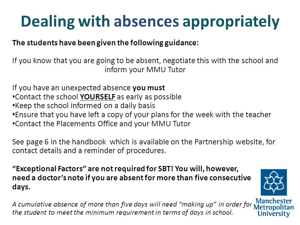Dealing with absences appropriately