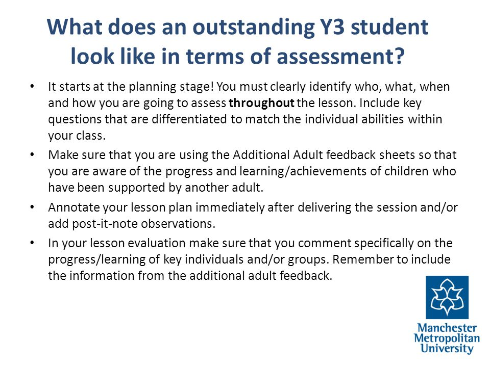 What does an outstanding Y3 student look like in terms of assessment