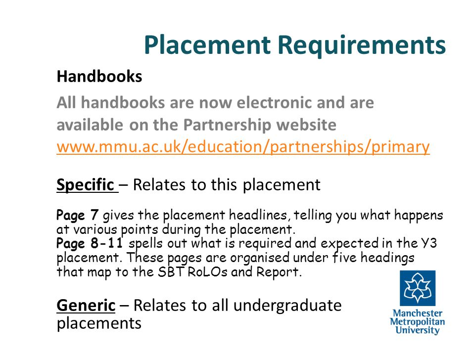Placement Requirements