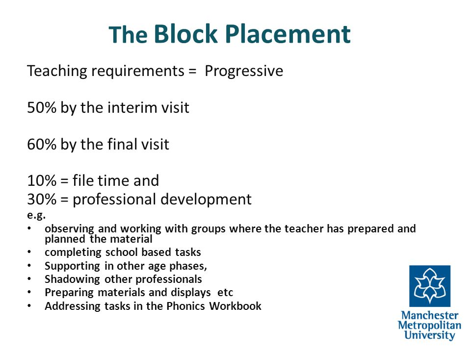 The Block Placement Teaching requirements = Progressive