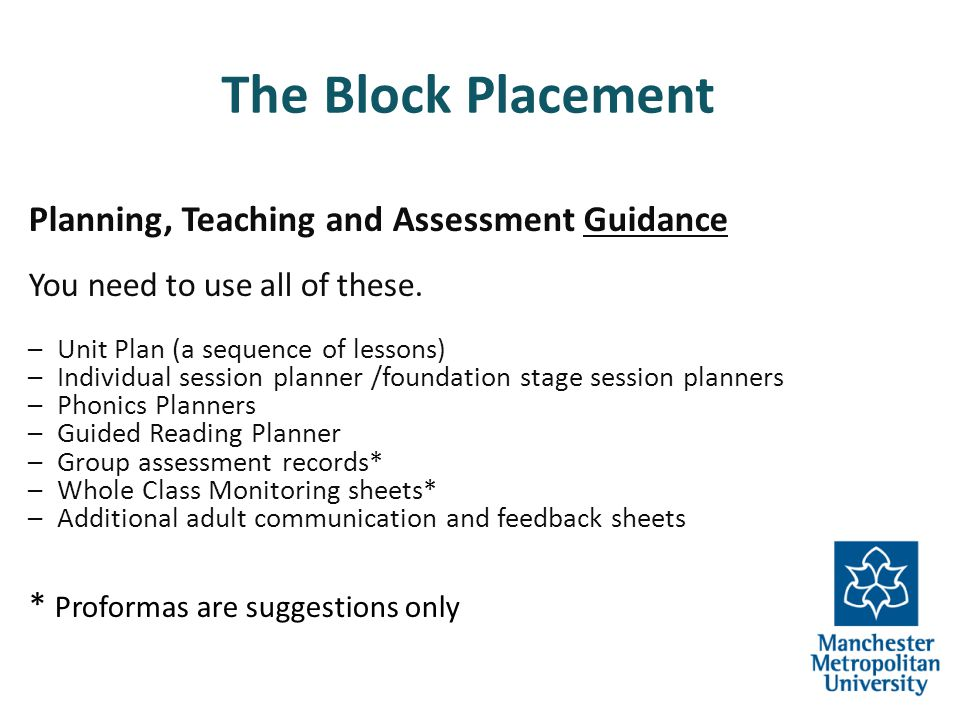 The Block Placement Planning, Teaching and Assessment Guidance