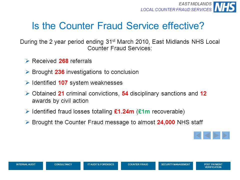 Is the Counter Fraud Service effective