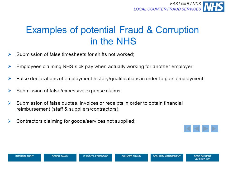 Examples of potential Fraud & Corruption in the NHS