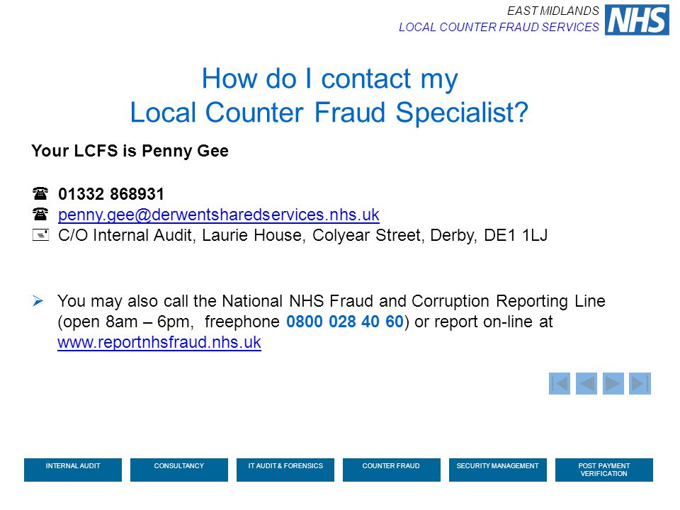 How do I contact my Local Counter Fraud Specialist