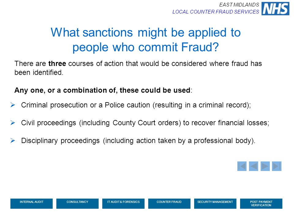 What sanctions might be applied to people who commit Fraud