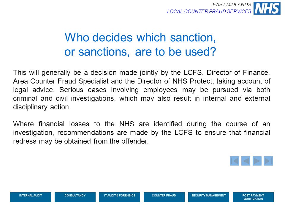 Who decides which sanction, or sanctions, are to be used