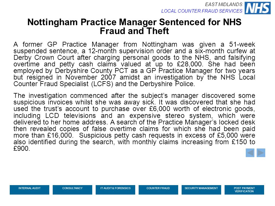 Nottingham Practice Manager Sentenced for NHS Fraud and Theft