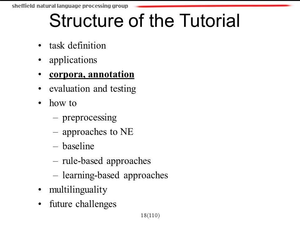 Structure of the Tutorial