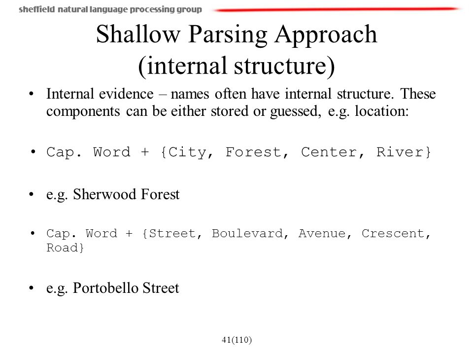 Shallow Parsing Approach (internal structure)