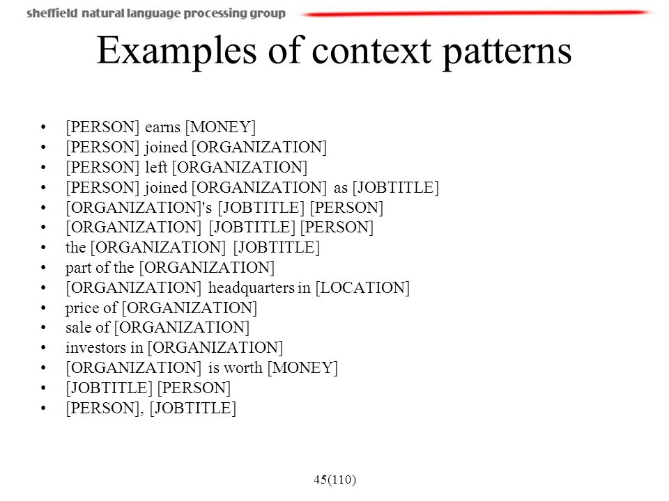 Examples of context patterns