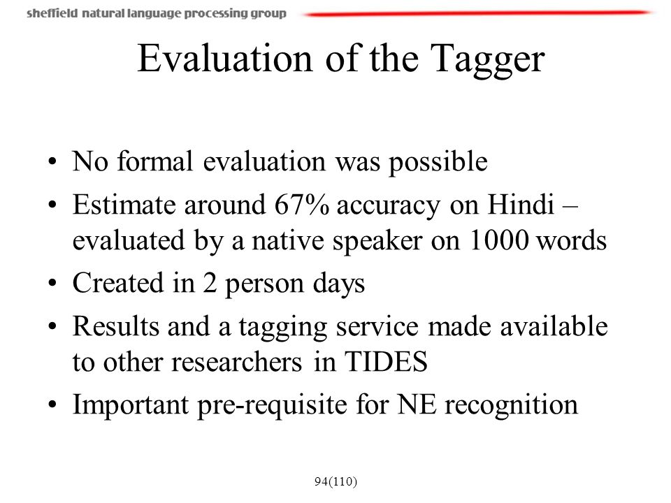 Evaluation of the Tagger