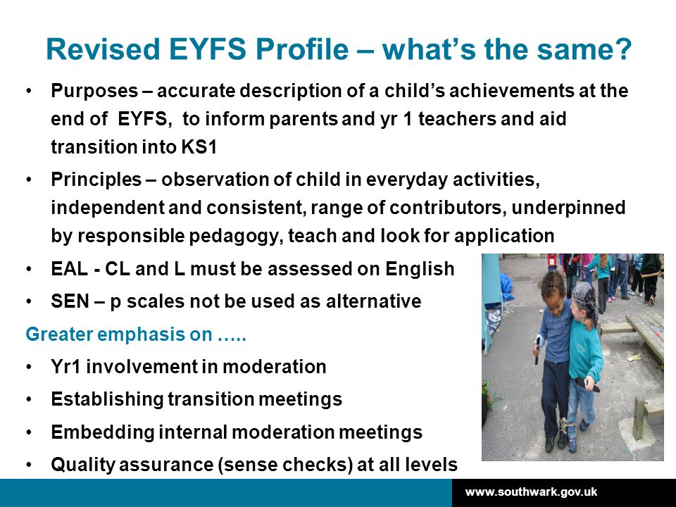 Revised EYFS Profile – what's the same