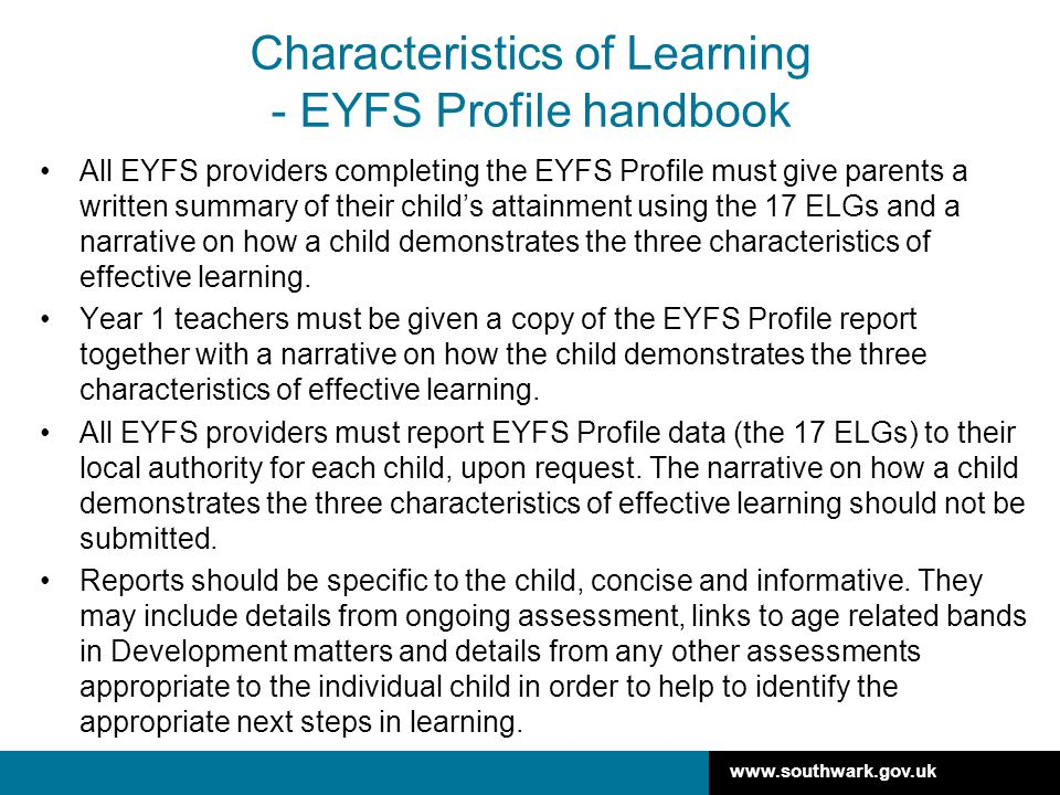 Characteristics of Learning - EYFS Profile handbook
