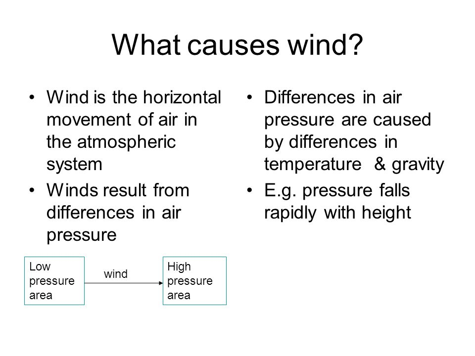 What causes wind Wind is the horizontal movement of air in the atmospheric system. Winds result from differences in air pressure.