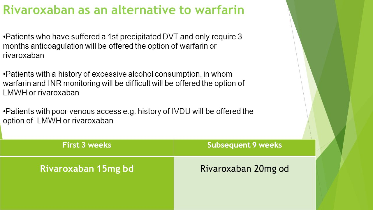 Rivaroxaban as an alternative to warfarin