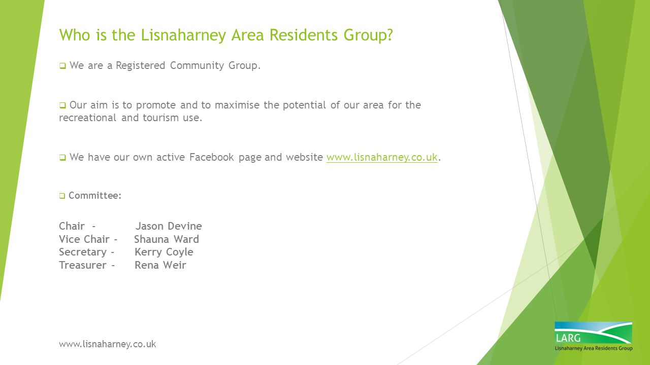 Who is the Lisnaharney Area Residents Group