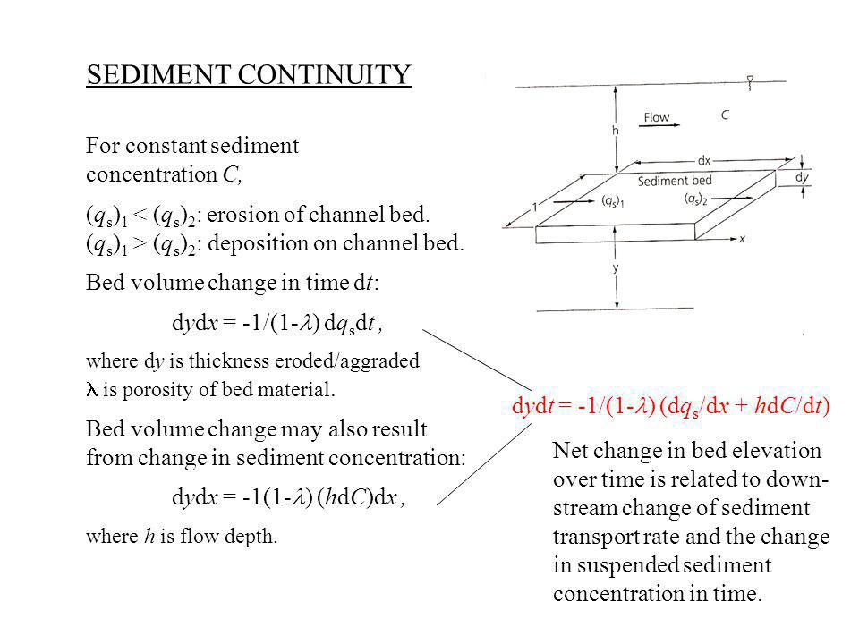 SEDIMENT CONTINUITY For constant sediment concentration C,