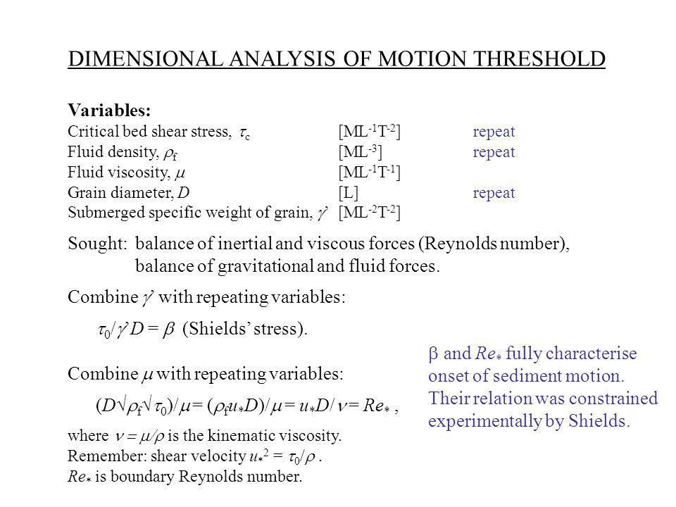 DIMENSIONAL ANALYSIS OF MOTION THRESHOLD