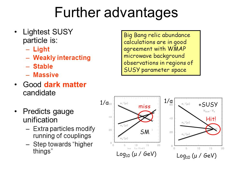 Further advantages Lightest SUSY particle is: