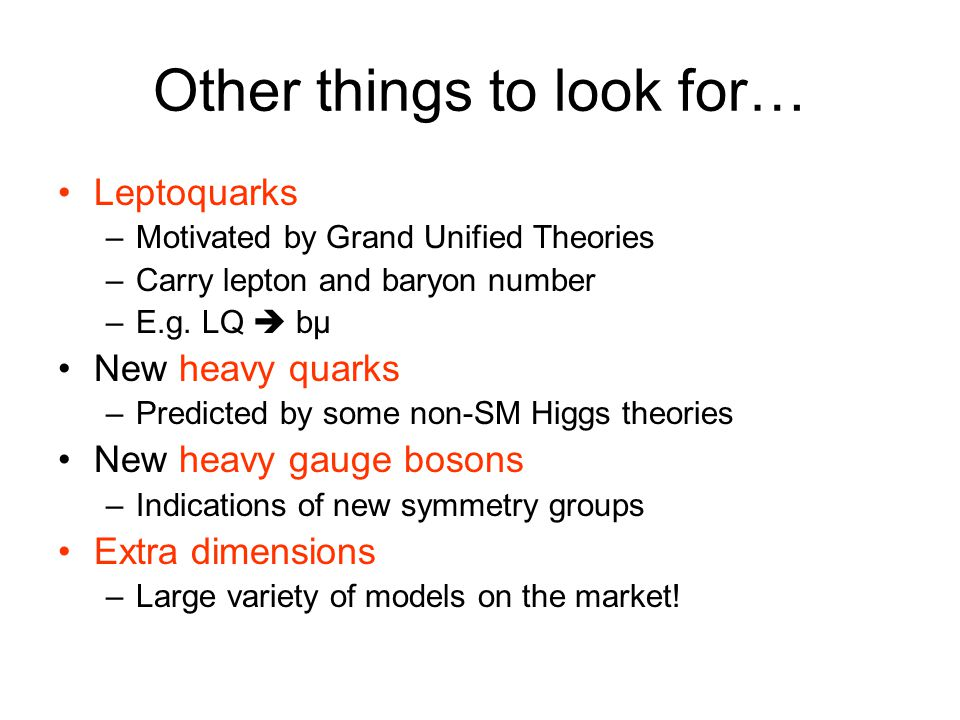 Other things to look for…