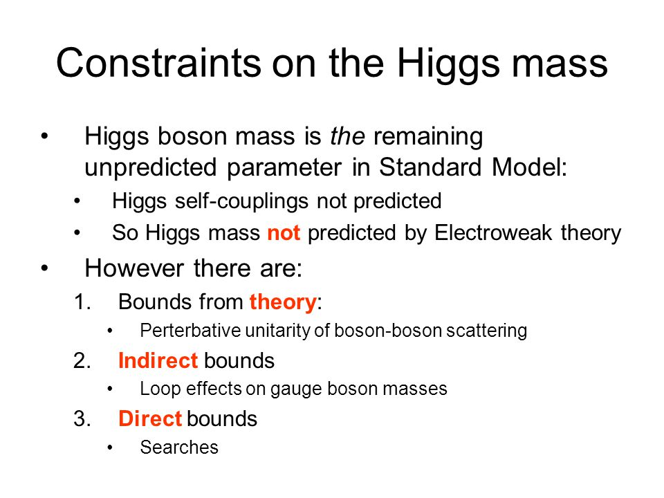 Constraints on the Higgs mass