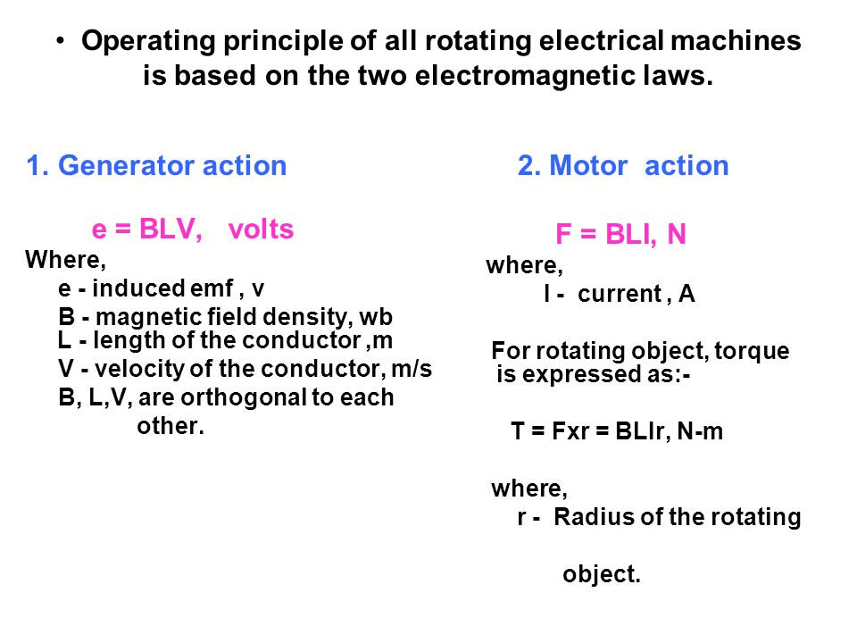 Operating principle of all rotating electrical machines is based on the two electromagnetic laws.