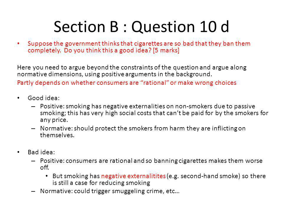 Section B : Question 10 d
