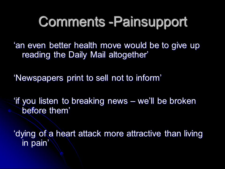 Comments -Painsupport
