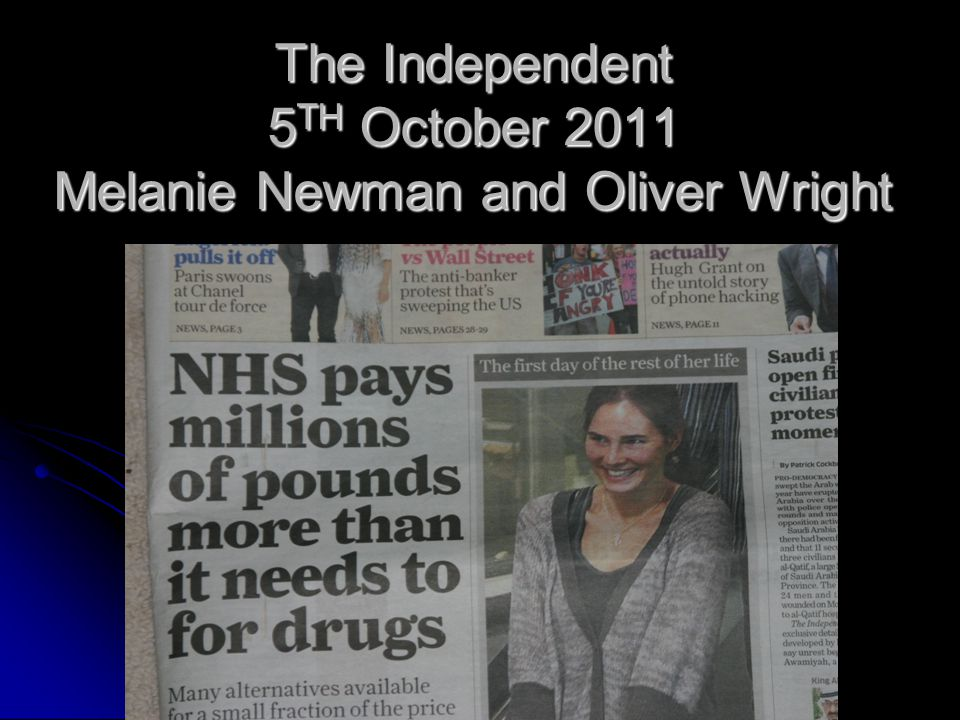The Independent 5TH October 2011 Melanie Newman and Oliver Wright