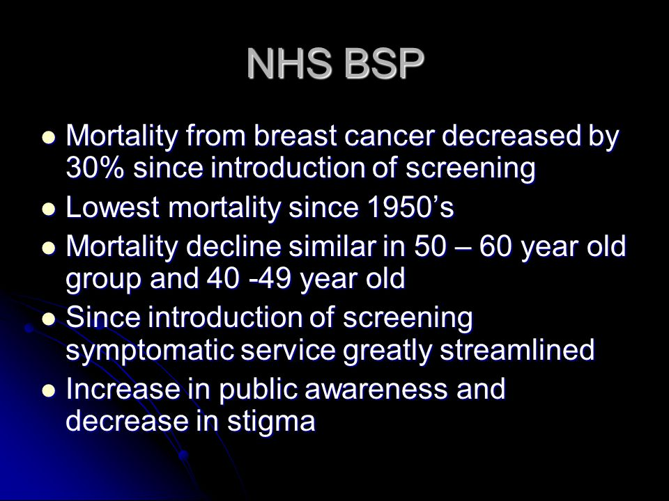 NHS BSP Mortality from breast cancer decreased by 30% since introduction of screening. Lowest mortality since 1950's.