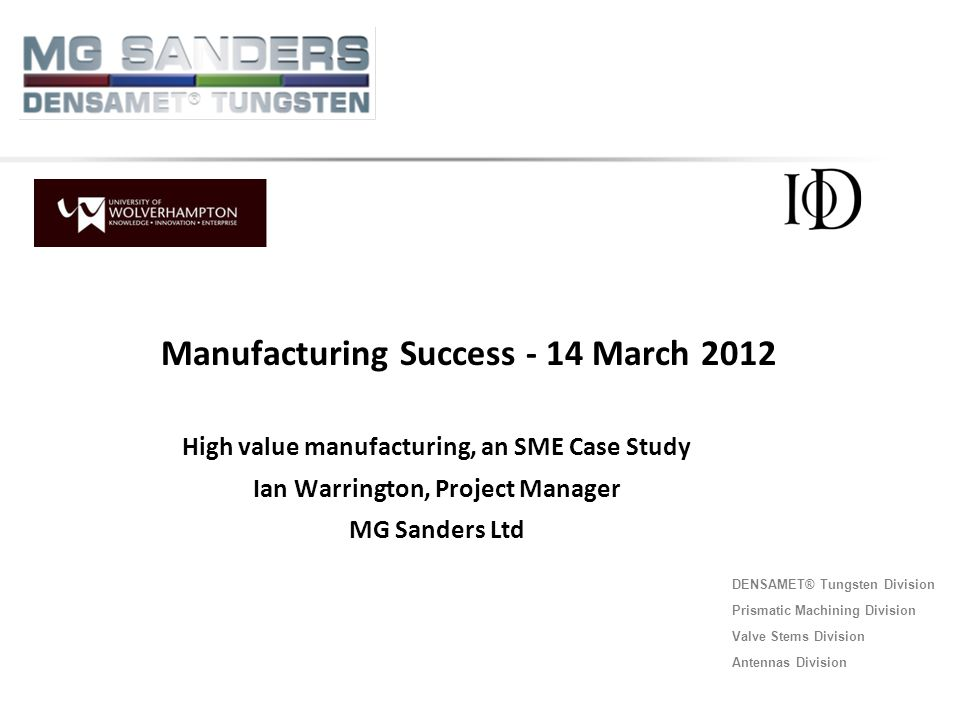 Manufacturing Success - 14 March 2012