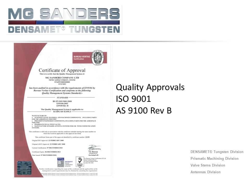Quality Approvals ISO 9001 AS 9100 Rev B