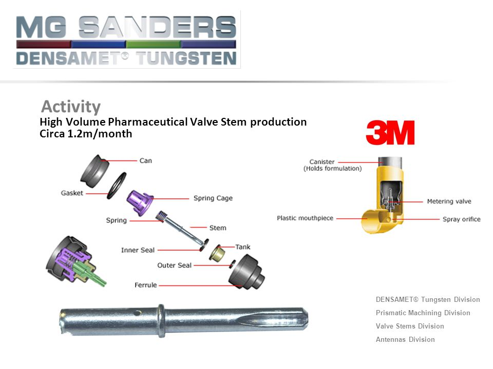 Activity High Volume Pharmaceutical Valve Stem production