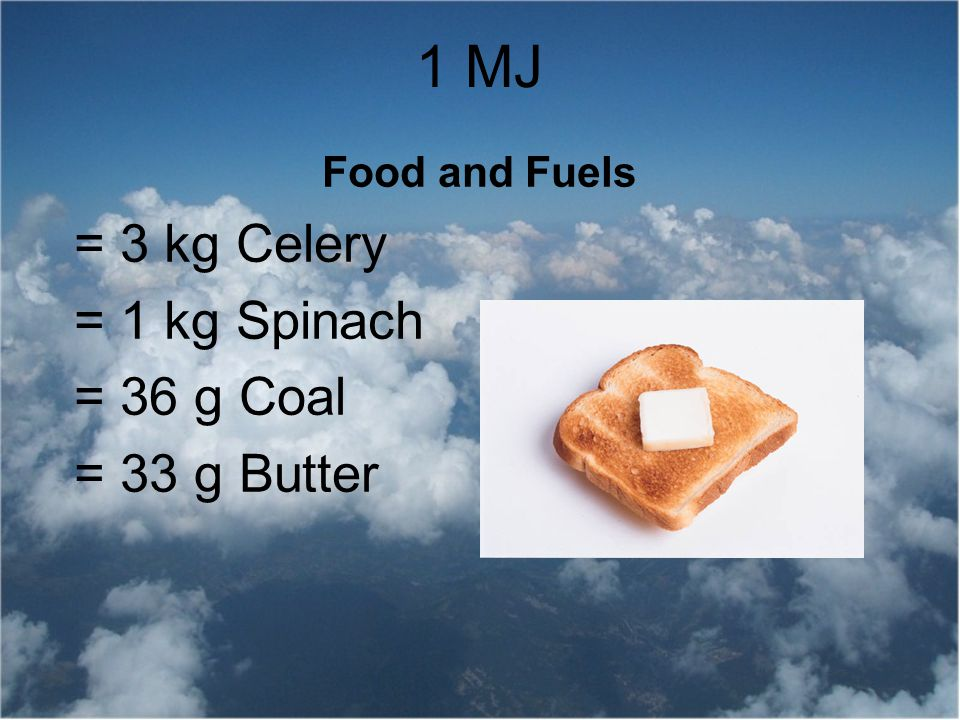 Food and Fuels = 3 kg Celery = 1 kg Spinach = 36 g Coal = 33 g Butter