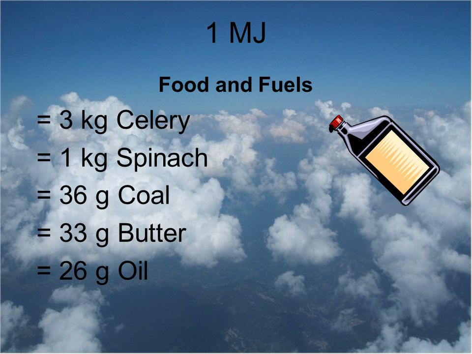 1 MJ = 3 kg Celery = 1 kg Spinach = 36 g Coal = 33 g Butter = 26 g Oil