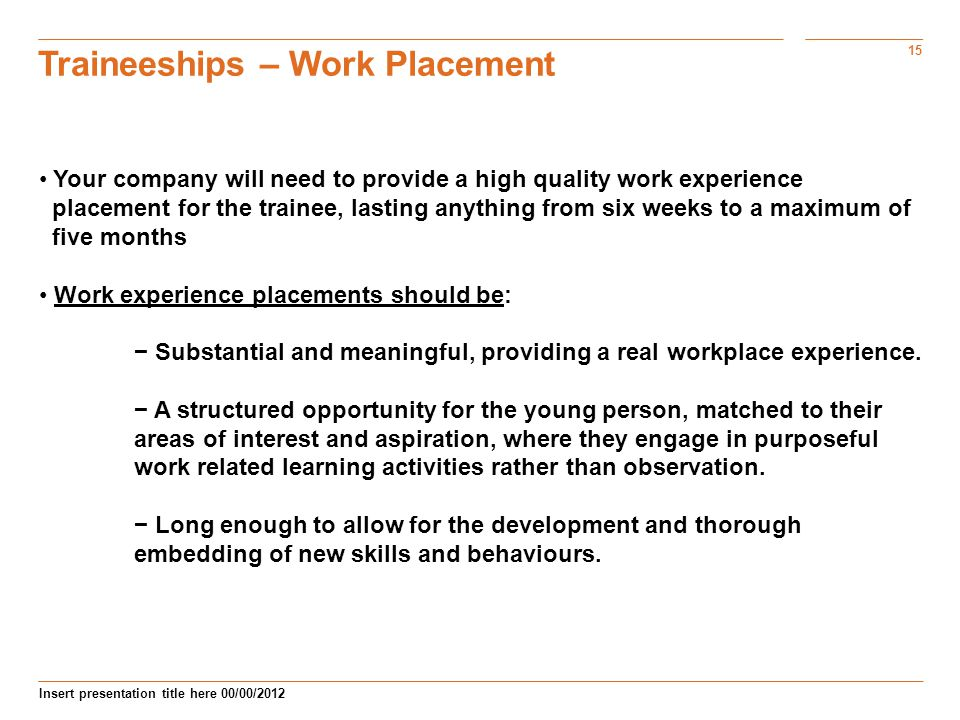 Traineeships – Work Placement