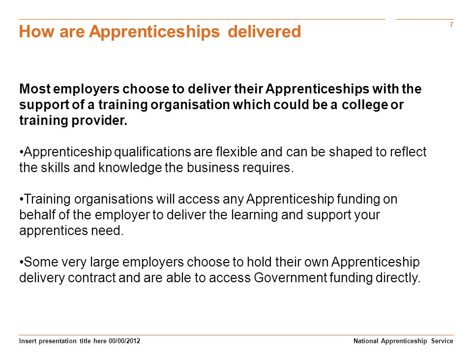 How are Apprenticeships delivered
