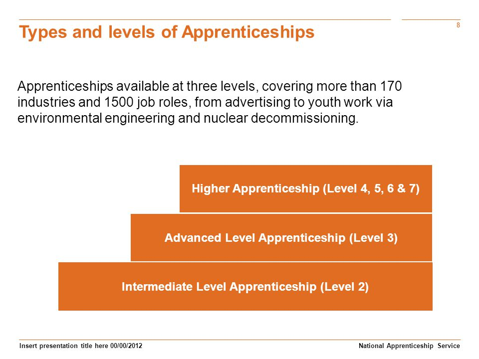 Types and levels of Apprenticeships