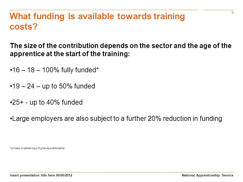 What funding is available towards training costs