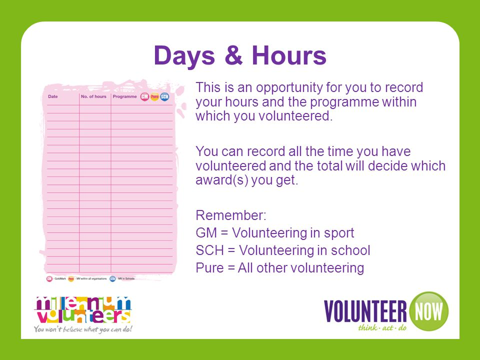 Days & Hours This is an opportunity for you to record your hours and the programme within which you volunteered.