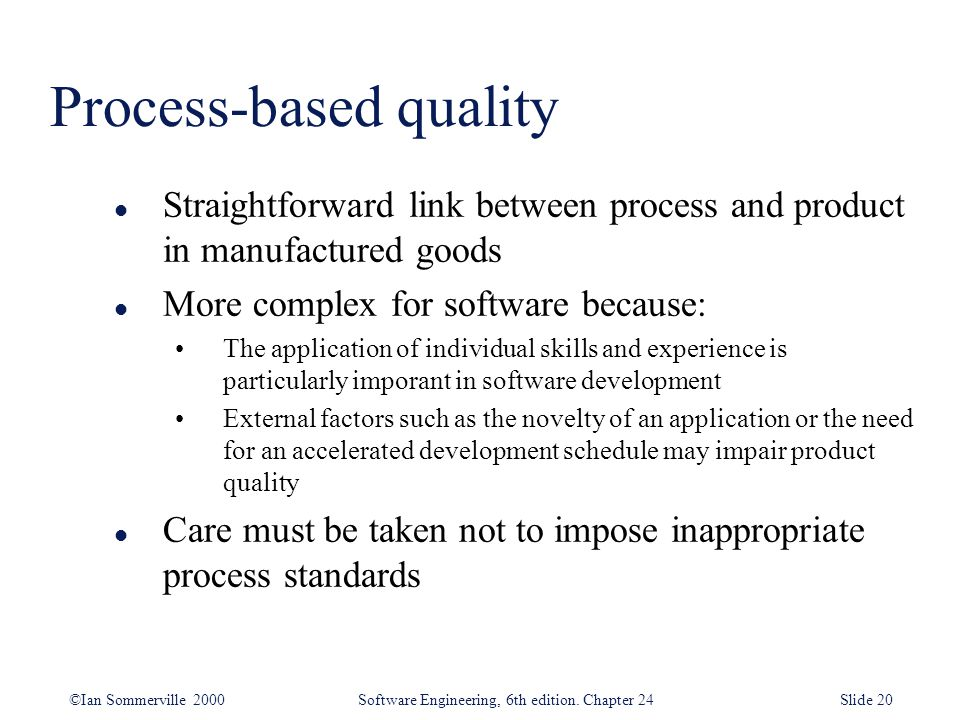 Process-based quality