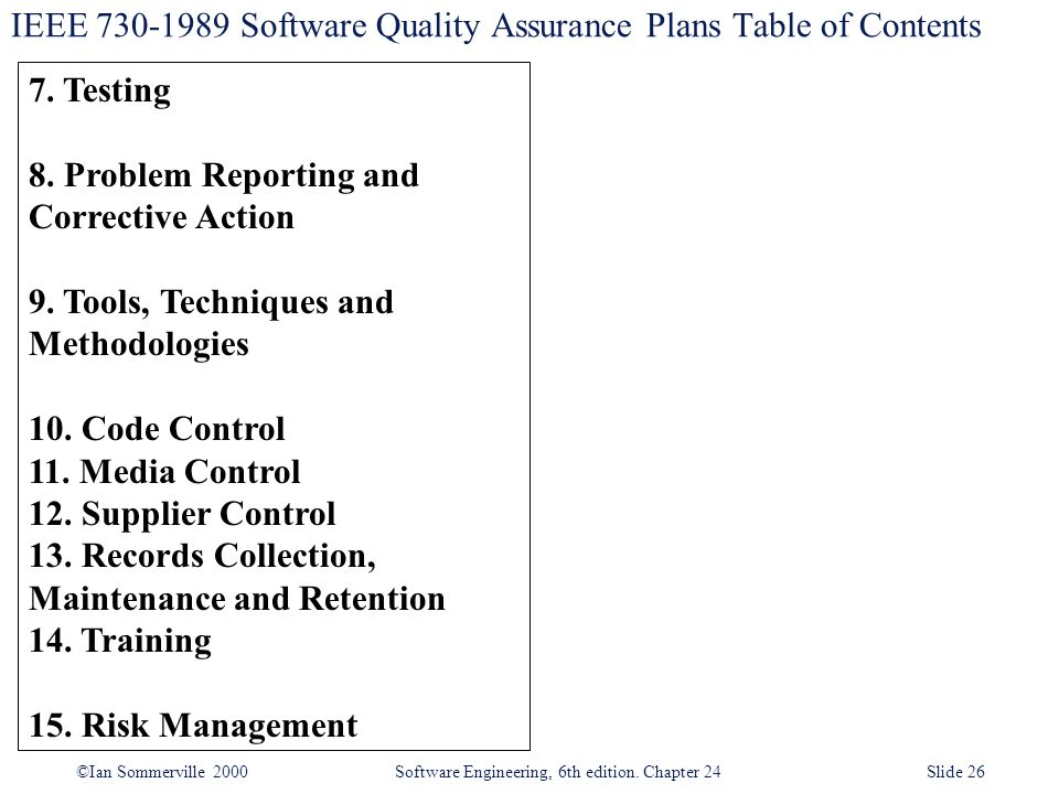 IEEE 730-1989 Software Quality Assurance Plans Table of Contents