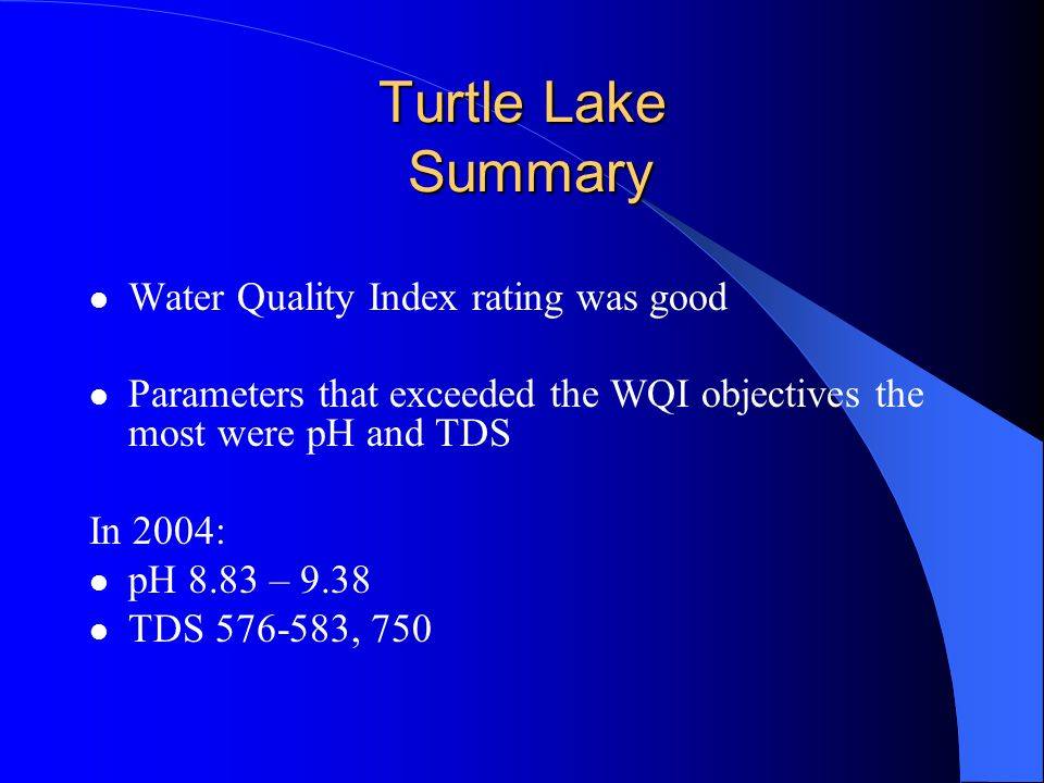 Turtle Lake Summary Water Quality Index rating was good