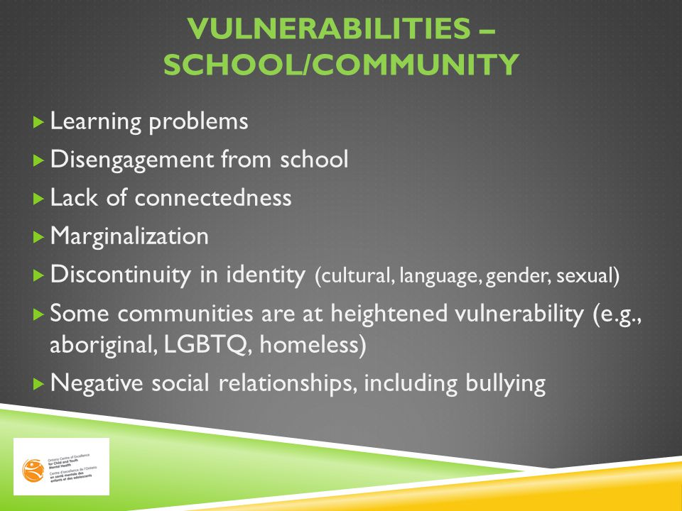 Vulnerabilities – school/community