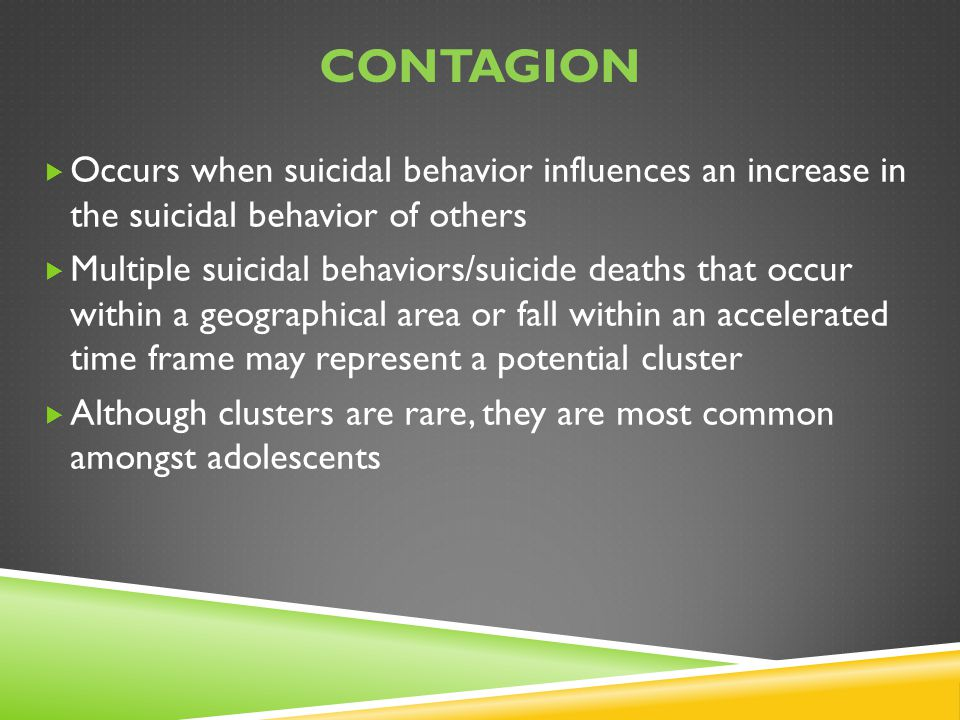Contagion Occurs when suicidal behavior influences an increase in the suicidal behavior of others.