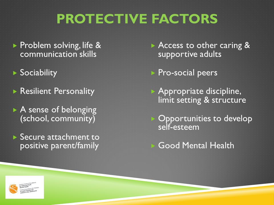 Protective factors Problem solving, life & communication skills