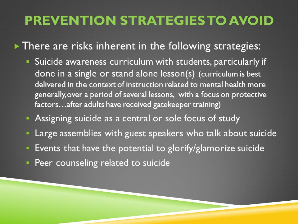 Prevention Strategies to avoid