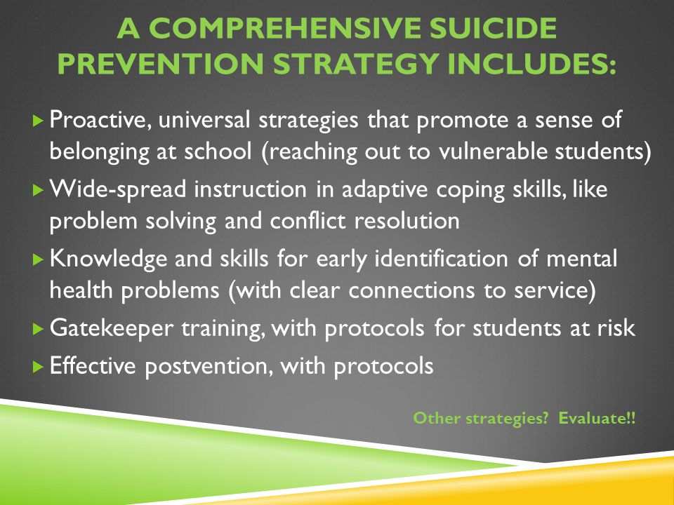 A Comprehensive suicide prevention strategy includes: