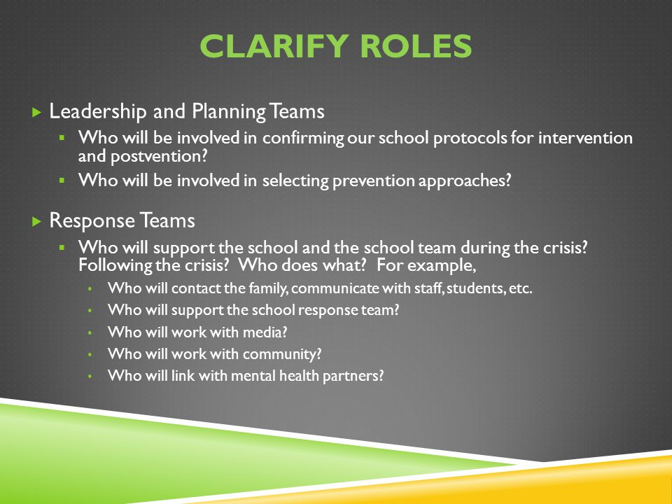 Clarify roles Leadership and Planning Teams Response Teams